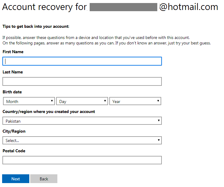 Hotmail password recovery screen 10