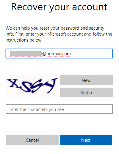 Hotmail password recovery screen 2