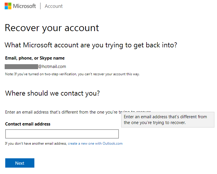 Hotmail password recovery screen 7